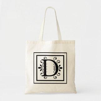 Letter D Monogram Tote Bag