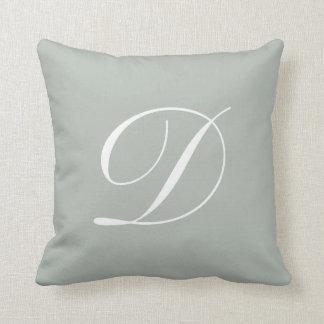 Letter D Silver Gray Monogram Pillow