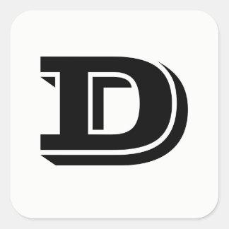 Letter D Vineta Font White Square Stickers by Janz