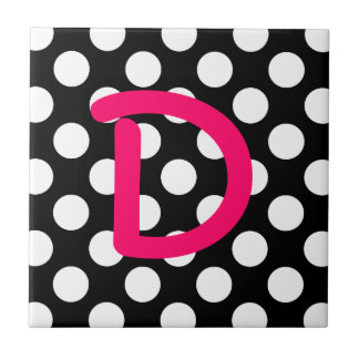 Letter D White Polka Dot Tile