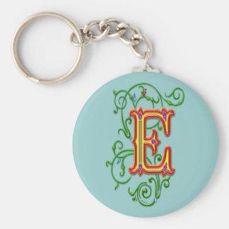 Letter E Alphabet Vines Print Key Ring
