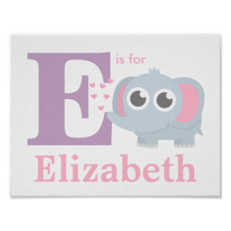 Letter E Baby Elephant With Love Girls Room Decor Poster