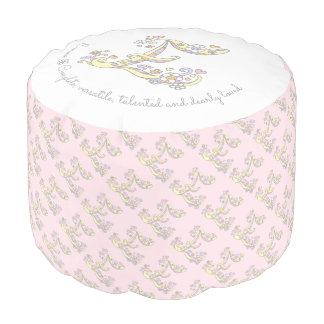 Letter E Emma name meaning pink white pouf