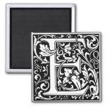 Letter E Mediaeval Monogram Vintage Initial Square Magnet