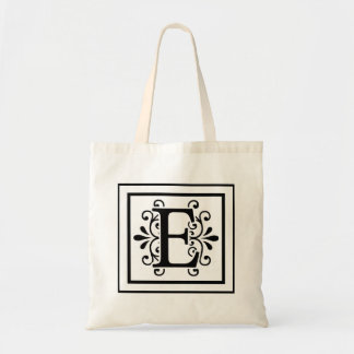 Letter E Monogram Tote Bag