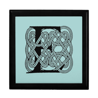Letter E Vintage Celtic Knot Monogram Large Square Gift Box