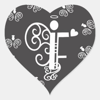 Letter F Initial Monogram Heart Sticker