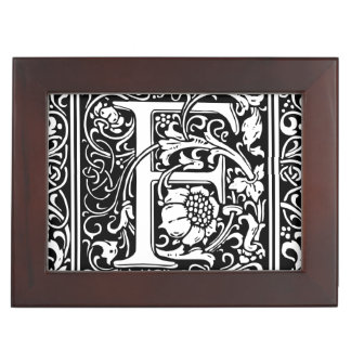 Letter F Medieval Monogram Vintage Initial Memory Box
