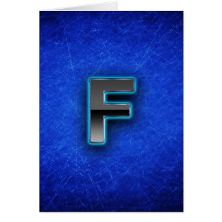 Letter F - neon blue edition Card