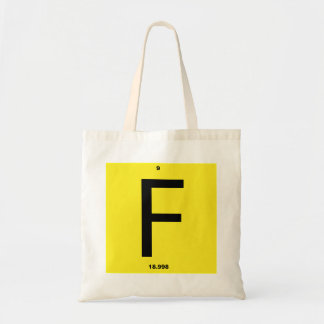 Letter F periodic table Budget Tote Bag