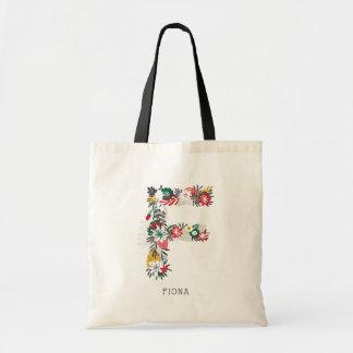 Letter F   Whimsical Floral Letter Monogram I Tote Bag