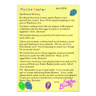 Letter from Easter Bunny Purple Blue Green Eggs Magnetic Card