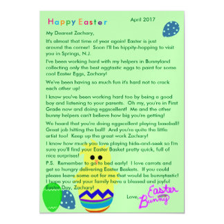 Letter from Easter Bunny Striped Chick Egg Magnetic Card