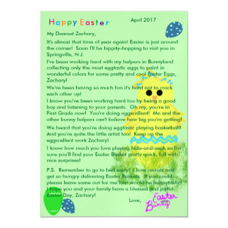 Letter from Easter Bunny Yellow Blue Chick Egg Magnetic Card