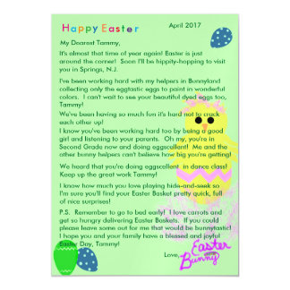 Letter from Easter Bunny Yellow Pink Chick Egg Magnetic Card