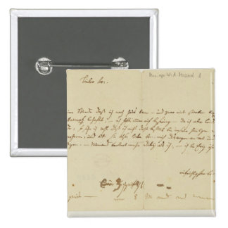 Letter from Mozart to a freemason, January 1786 15 Cm Square Badge