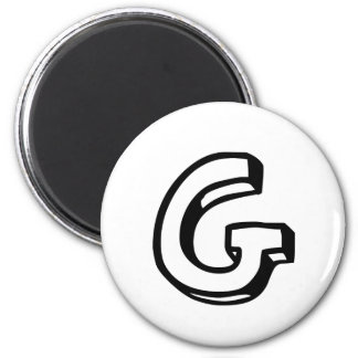 Letter G 6 Cm Round Magnet