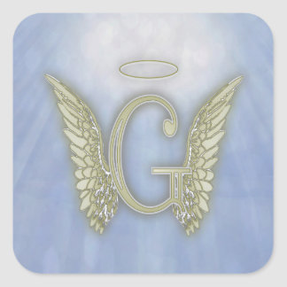 Letter G Angel Monogram Square Sticker