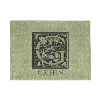 Letter G First Letter Monogram Personalised Doormat