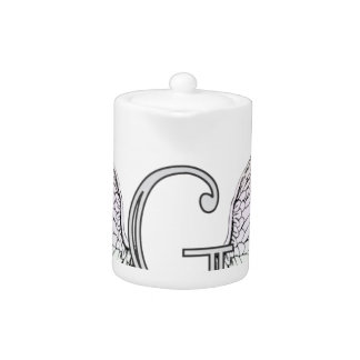 Letter G Initial Monogram with Angel Wings & Halo