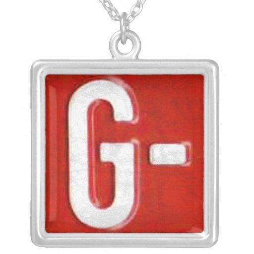 Letter G License Plate Vintage Necklace