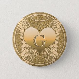 Letter G | Memorial | Angel Heart 6 Cm Round Badge