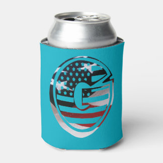 Letter G Monogram Initial Patriotic USA Flag Can Cooler