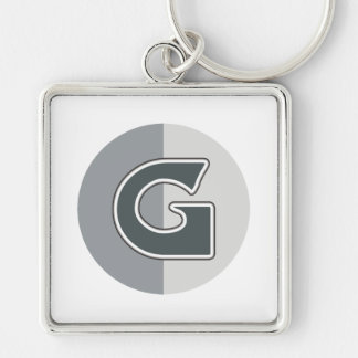 Letter G Silver-Colored Square Key Ring