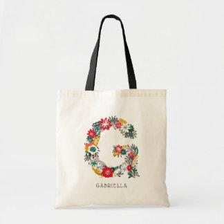 Letter G   Whimsical Floral Letter Monogram I Tote Bag