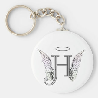 Letter H Initial Monogram with Angel Wings & Halo Key Ring