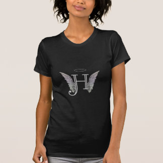 Letter H Initial Monogram with Angel Wings & Halo T-Shirt