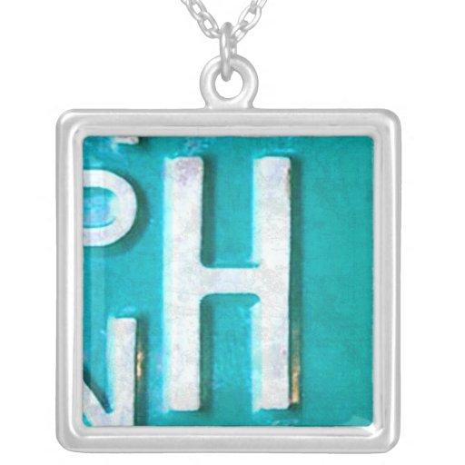 Letter H License Plate Vintage Necklace