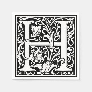 Letter H Medieval Monogram Vintage Initial Disposable Napkins