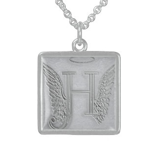 Letter H Memorial Monogram Sterling Silver Necklace