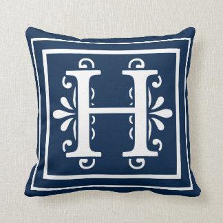 Letter H Monogram Navy Blue White Cushion