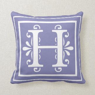Letter H Monogram Periwinkle Purple Cushion