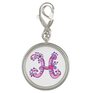 Letter H monogram pink purple whimsical charm