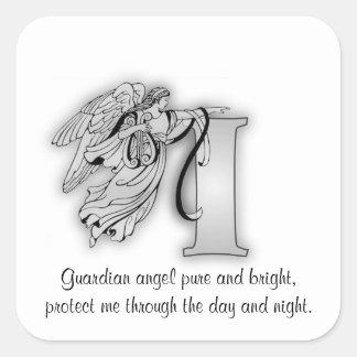 Letter I angel monogram alphabet initial Stickers