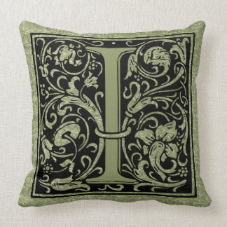 Letter I First Letter Monogram Throw Pillow