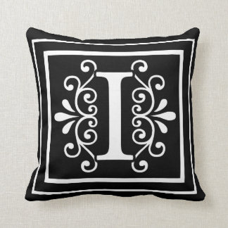 Letter I Monogram Black Cushion