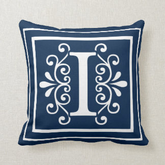 Letter I Monogram Navy Blue White Cushion