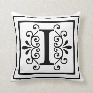 Letter I Monogram Throw Pillow