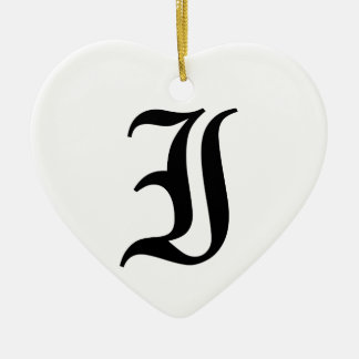Letter I Old English Text on White Background Ceramic Heart Decoration