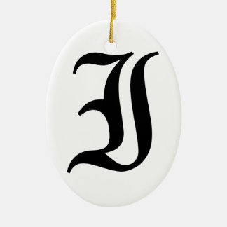 Letter I Old English Text on White Background Ceramic Oval Decoration