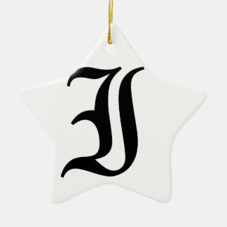 Letter I Old English Text on White Background Ceramic Star Decoration
