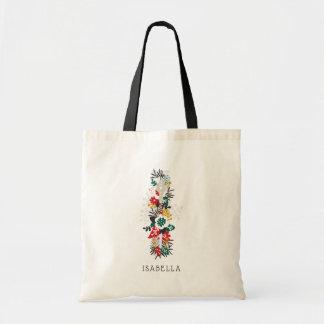 Letter I   Whimsical Floral Letter Monogram I Tote Bag