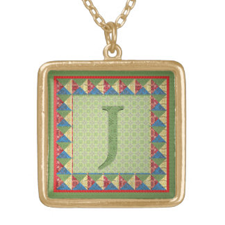 Letter J: 'Fabric Quilt' Style Initial and Pattern Square Pendant Necklace