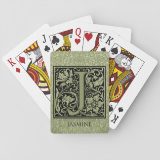 Letter J First Letter Monogram Personalized Playing Cards