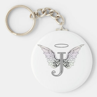 Letter J Initial Monogram with Angel Wings & Halo Key Ring