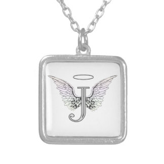 Letter J Initial Monogram with Angel Wings & Halo Silver Plated Necklace